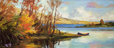 Painting Rights Managed Images - Banking on the Columbia Royalty-Free Image by Steve Henderson