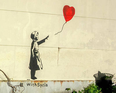 Photograph - Banksy Girl With Balloon With Syria by Gigi Ebert