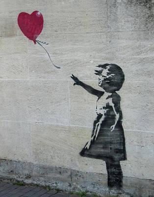 Black And White Flower Photography - Banksy Street Art Balloon Girl by Gigi Ebert