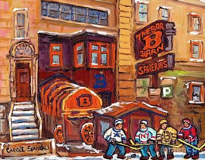 Painting - Bar B Barn Spare Ribs Restaurant Rue Guy Montreal Landmark Hockey Art C Spandau Winter Street Scene  by Carole Spandau