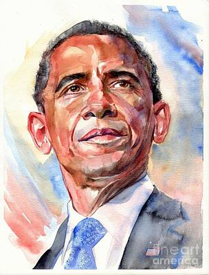 Barack Obama Wall Art - Painting - Barack Obama Portrait by Suzann's Art