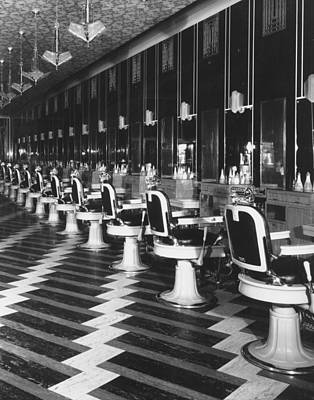 Art Prints Photograph - Barber Shop At Merchandise Mart by Chicago History Museum