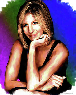 Curated Bath Towels - Barbra Streisand painting by Stars on Art