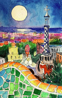 Antoni Gaudi Wall Art - Painting - Barcelona By Moonlight Watercolor Painting By Mona Edulesco by Mona Edulesco