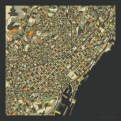 Spain Wall Art - Digital Art - Barcelona Map 2 by Jazzberry Blue