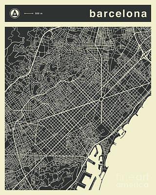 Spain Wall Art - Digital Art - Barcelona Map 3 by Jazzberry Blue