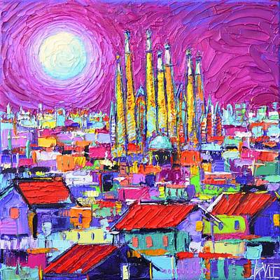 Antoni Gaudi Wall Art - Painting - Barcelona Mystic Full Moon Over Sagrada Familia Abstract Cityscape Knife Painting Ana Maria Edulescu by Ana Maria Edulescu