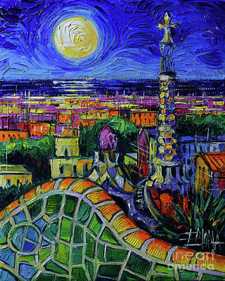 Antoni Gaudi Wall Art - Painting - Barcelona Nightscape Modern Impressionist Stylized Cityscape Oil Painting Mona Edulesco by Mona Edulesco