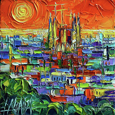 Antoni Gaudi Wall Art - Painting - Barcelona Orange View - Sagrada Familia View From Park Guell - Abstract Palette Knife Oil Painting by Mona Edulesco