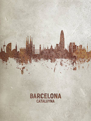 Digital Art - Barcelona Spain Rust Skyline by Michael Tompsett