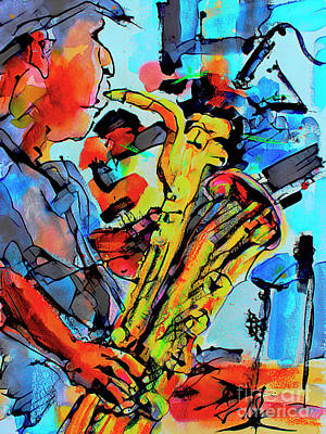 Mixed Media - Baritone Sax Player Modern Music Art  by Ginette Callaway