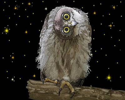 Girl Wall Art - Digital Art - Barking Owl At Night 2 by Joan Stratton