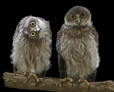Girl Wall Art - Digital Art - Barking Owls 1 by Joan Stratton