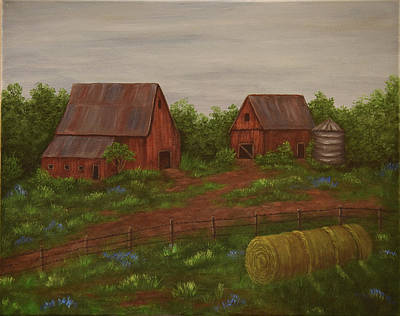 Painting - Barn And Hay by Gloria Johnson
