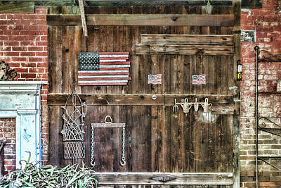 Photograph - Barn Door With Flags by Sharon Popek
