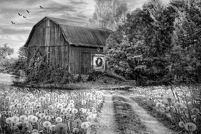 Photograph - Barn In Early Autumn Black And White by Debra and Dave Vanderlaan