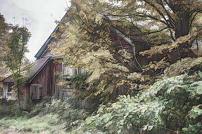 Photograph -  Barn Mixed With Yellow Fall Colors In Autumn by Jeff Folger