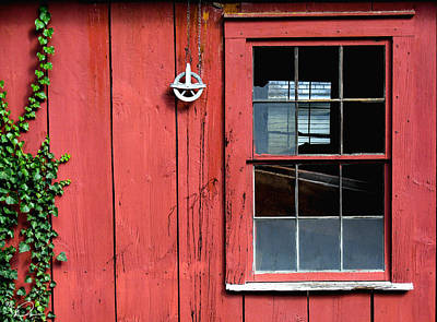 Photograph - Barn With Pulley And Broken Window by David Derr