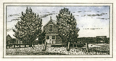 Mixed Media - Barnstable Yacht Club Etching by Charles Harden