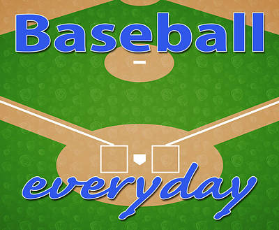 Digital Art - Baseball Everyday  by Angie Tirado