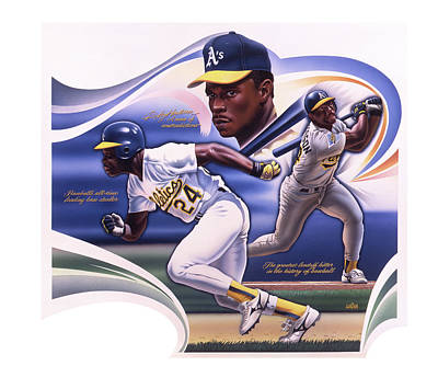 Sports Paintings - Baseball Ricky Henderson  by Garth Glazier