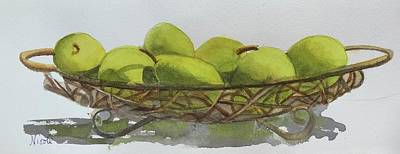 Painting Royalty Free Images - Basket of Pears Royalty-Free Image by Nicole Curreri