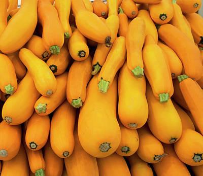 Zucchini Photograph - Basket Of Yellow Zucchini by Fotog