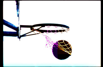 Sports Photograph - Basketball Going Through Net, Close-up by Cyberimage
