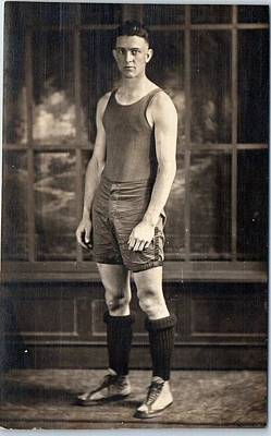 Sports Paintings - BASKETBALL PLAYER Athlete Uniform c1920s by Celestial Images