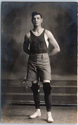 Sports Paintings - BASKETBALL PLAYER in Uniform w  Knee Pads 1920 by Celestial Images