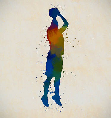 Sports Paintings - Basketball Player Shooting by Dan Sproul