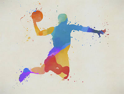 Sports Paintings - Basketball Slam Dunk by Dan Sproul
