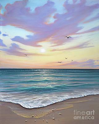 Naples Beach Wall Art - Painting - Basking In The Sunset by Joe Mandrick