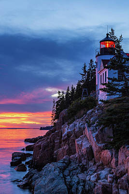 Photograph - Bass Harbor Head Lighthouse At Twilight by Stefan Mazzola