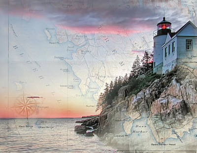Photograph - Bass Harbor Lighthouse On A Chart by Jeff Folger