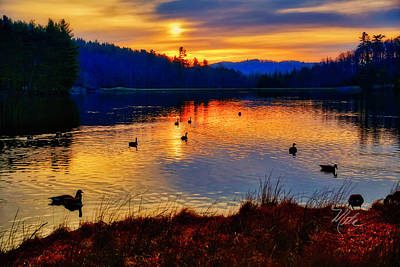 Photograph - Bass Lake Sunrise Geese by Meta Gatschenberger