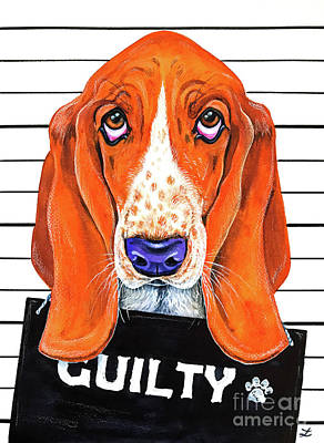 Olympic Sports - Basset Hound Mug Shot by Zaira Dzhaubaeva
