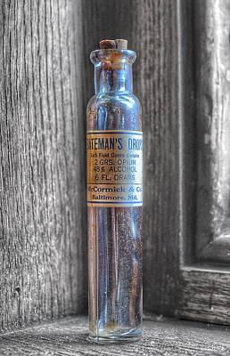 Steampunk Royalty-Free and Rights-Managed Images - Antique McCormick and Co Baltimore MD Batemans Drops Opium Bottle by Marianna Mills