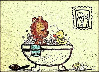 Drawing - Bath Time  by MaryLee Parker