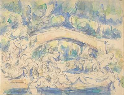 Keith Richards - Bathers by a Bridge 1900 06 by Paul Cezanne Paintings