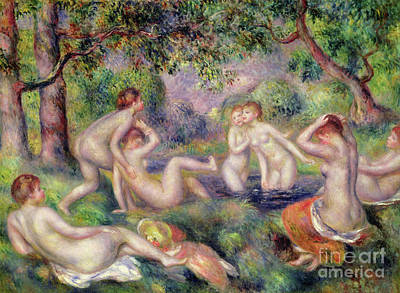 Painting - Bathers In The Forest, Circa 1897 by Pierre Auguste Renoir