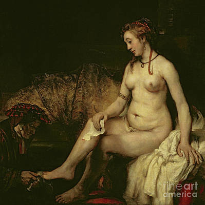 Painting - Bathsheba Bathing, 1654 By Rembrandt  by Rembrandt