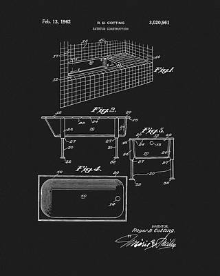 Drawing - Bathtub Patent by Dan Sproul