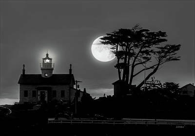 Photograph - Battery Point Lighthouse In Moonlight by Leland D Howard