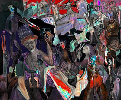 Digital Art - Battle Crowd Red Sky by Artist Dot