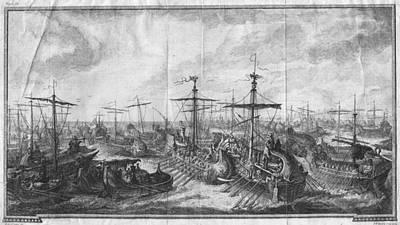 Battle Of Cape Ecnomus Art Print by Hulton Archive