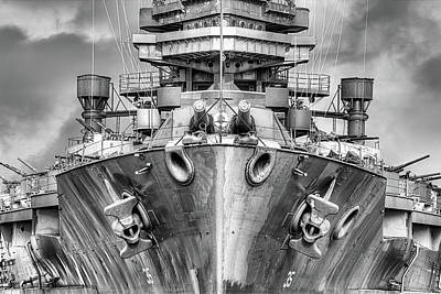 Photograph - Battleship U S S Texas Black And White by JC Findley
