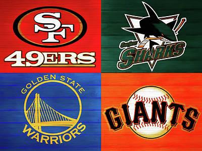 Mixed Media - Bay Area Sports Teams Barn Door by Dan Sproul