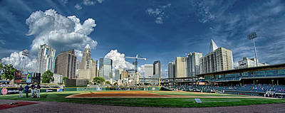 Photograph - Bbt Baseball Charlotte Nc Knights Baseball Stadium And City Skyl by Alex Grichenko