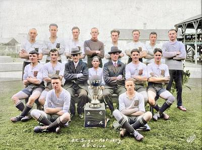 Music Paintings - B.C.S.R. AF  amateur football club, soccer team with trophy, 1927 colorized by Ahmet Asar by Ahmet Asar
